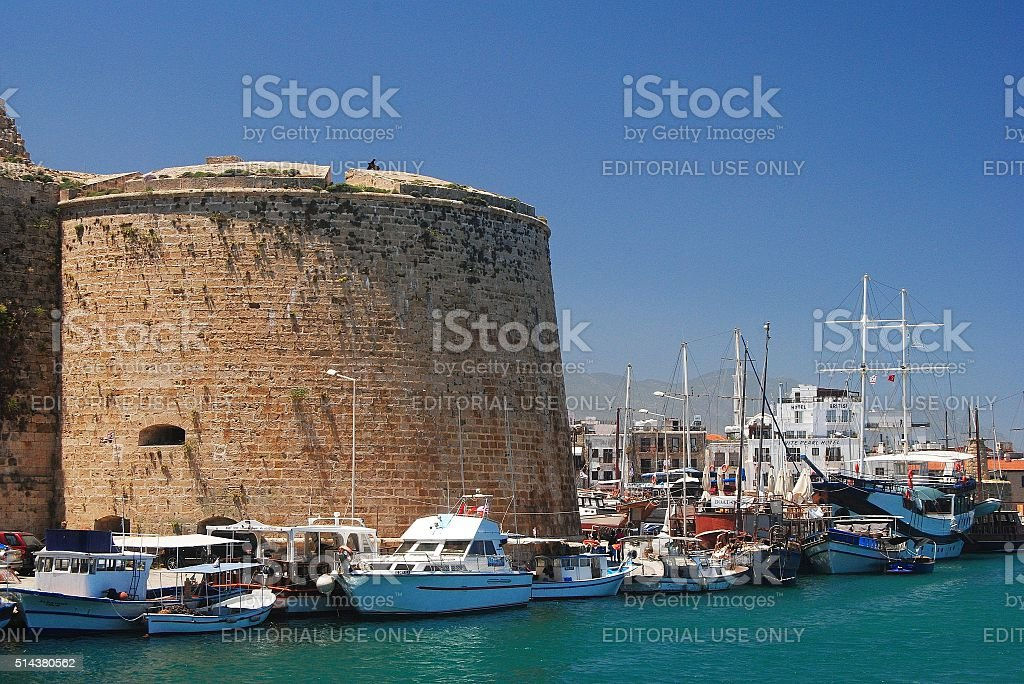Venetian round tower of the Kyrenia castle in Cyprus. stock photo