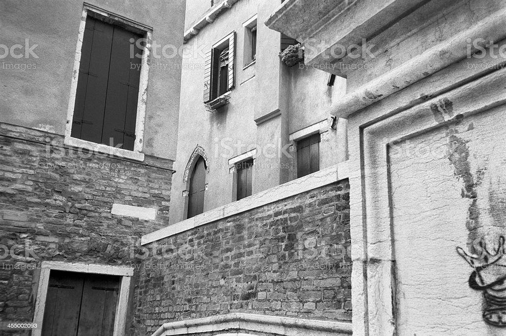 Venetian street architecture in B&W stock photo