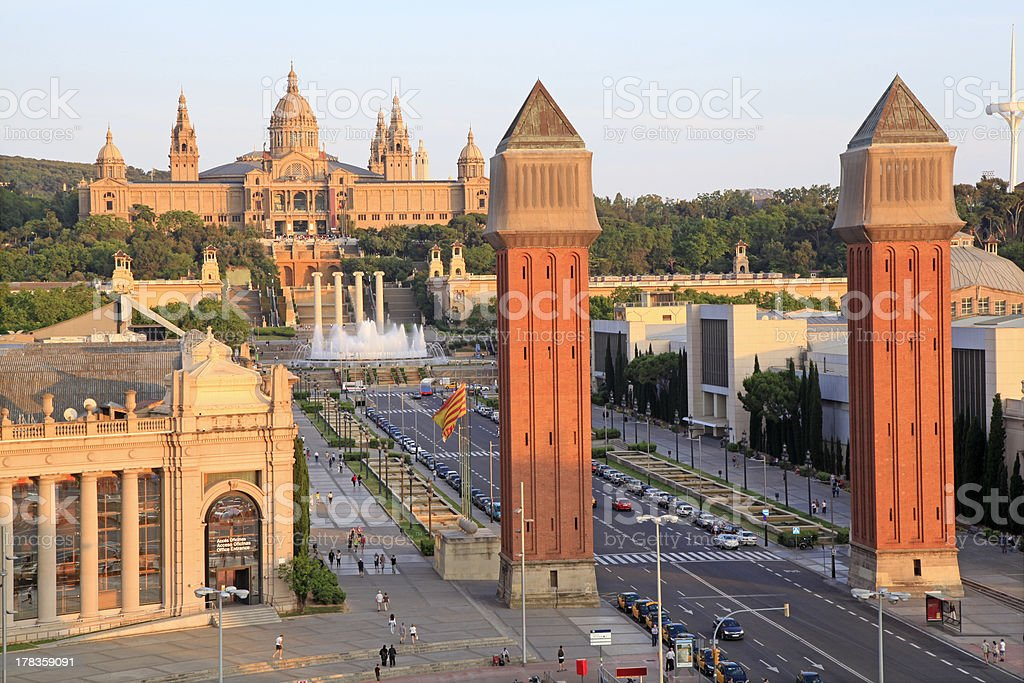 Venetian Towers and Museu Nacional D'Art in Barcelona royalty-free stock photo