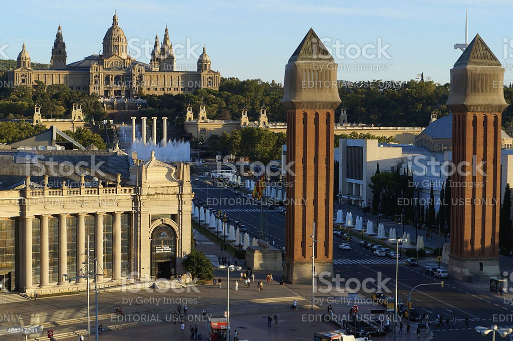 Venetian Towers and National Art Museum in Barclona royalty-free stock photo