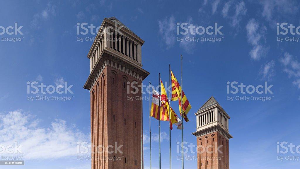 Venetian Towers in Placa de Espana - Barcelona royalty-free stock photo