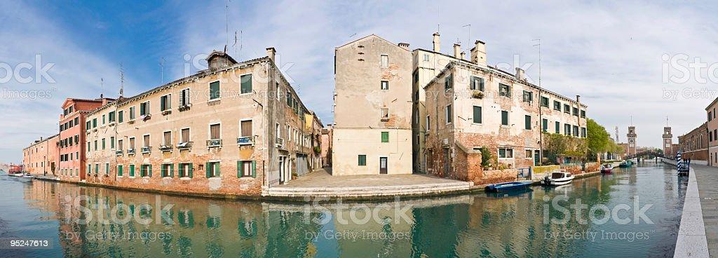 Venetian villas reflected in canal stock photo