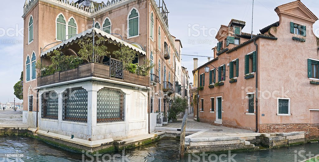 Venetian villas townhouses canal alleyways Riva degli Schiavoni Venice Italy royalty-free stock photo