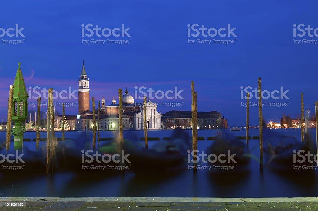Venetian wharf with moon royalty-free stock photo