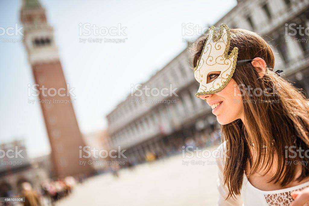 venetian woman for carnival in venice stock photo