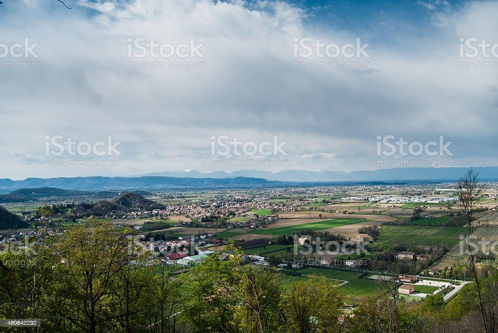 veneto countryside from mount tramonte stock photo