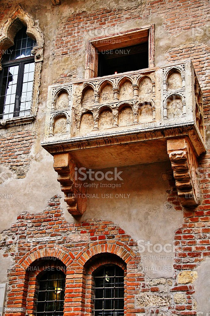 Veneto region, Verona, Italy - March 20, 2010 - Juliet balcony stock photo