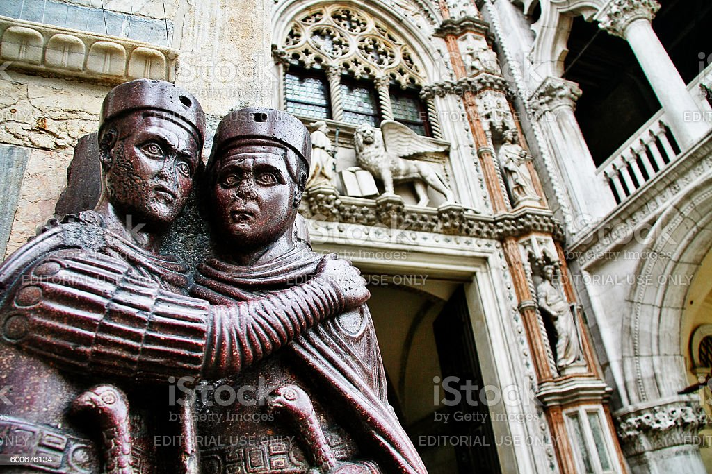 Veneto, Venice, Italy - March 21, 2010 - Four Tetrarchs statue stock photo