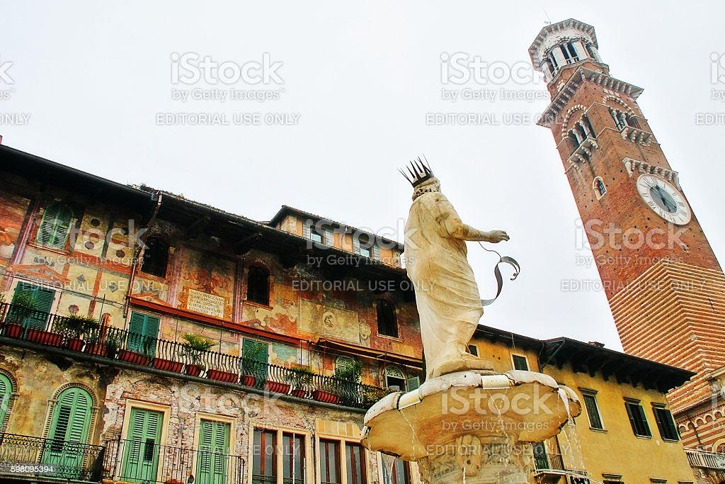 Veneto, Verona, Italy - March 20, 2010 - Piazza delle Erbe stock photo