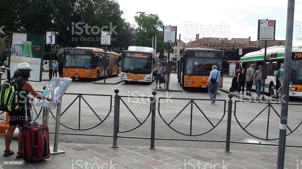 Venezia Piazzale Roma Public Bus Station Venice And People Italy.Europe stock photo