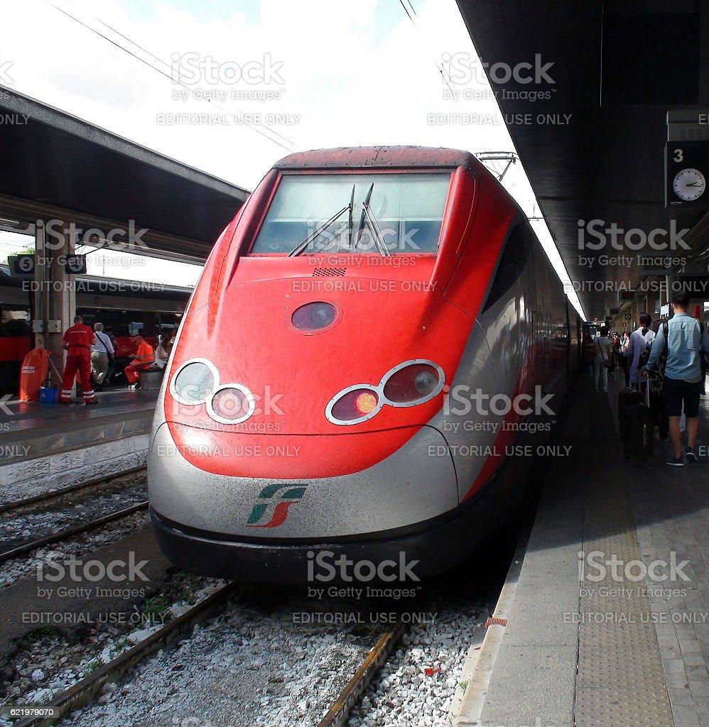 Venezia Santa Lucia Railway Station In Italy Including Travellers.Europe stock photo