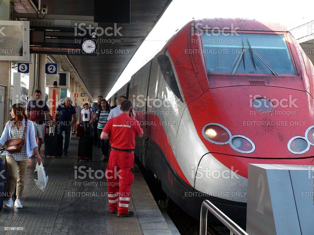 Venezia Santa Lucia Railway Station In Italy Including Travellers stock photo