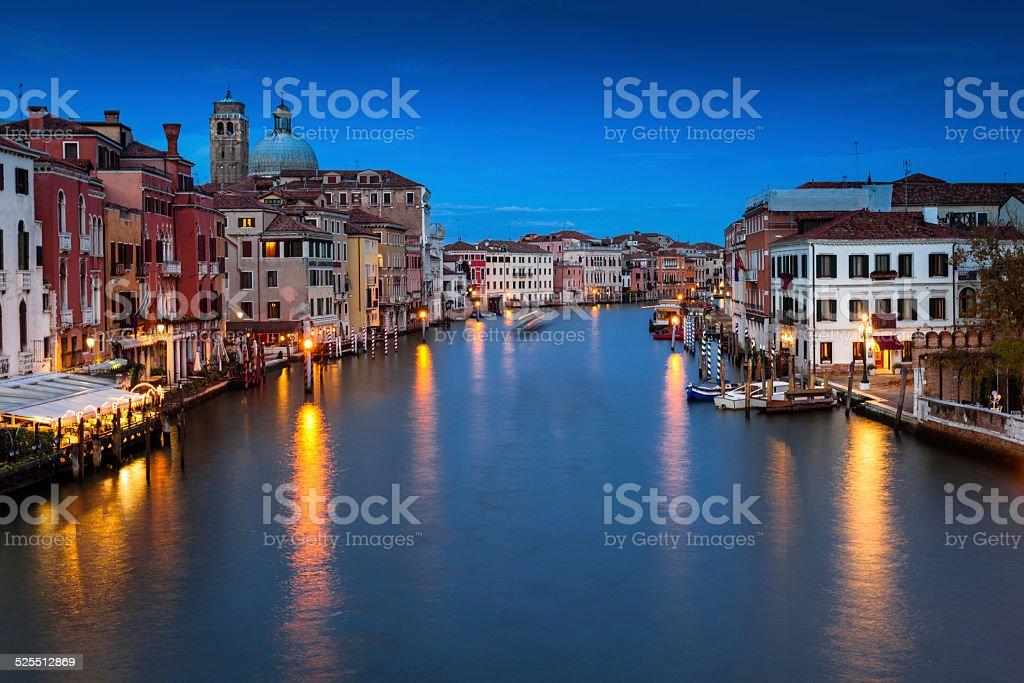 Venezia, the Grand Canal at night. Venice, Veneto, Italy. stock photo