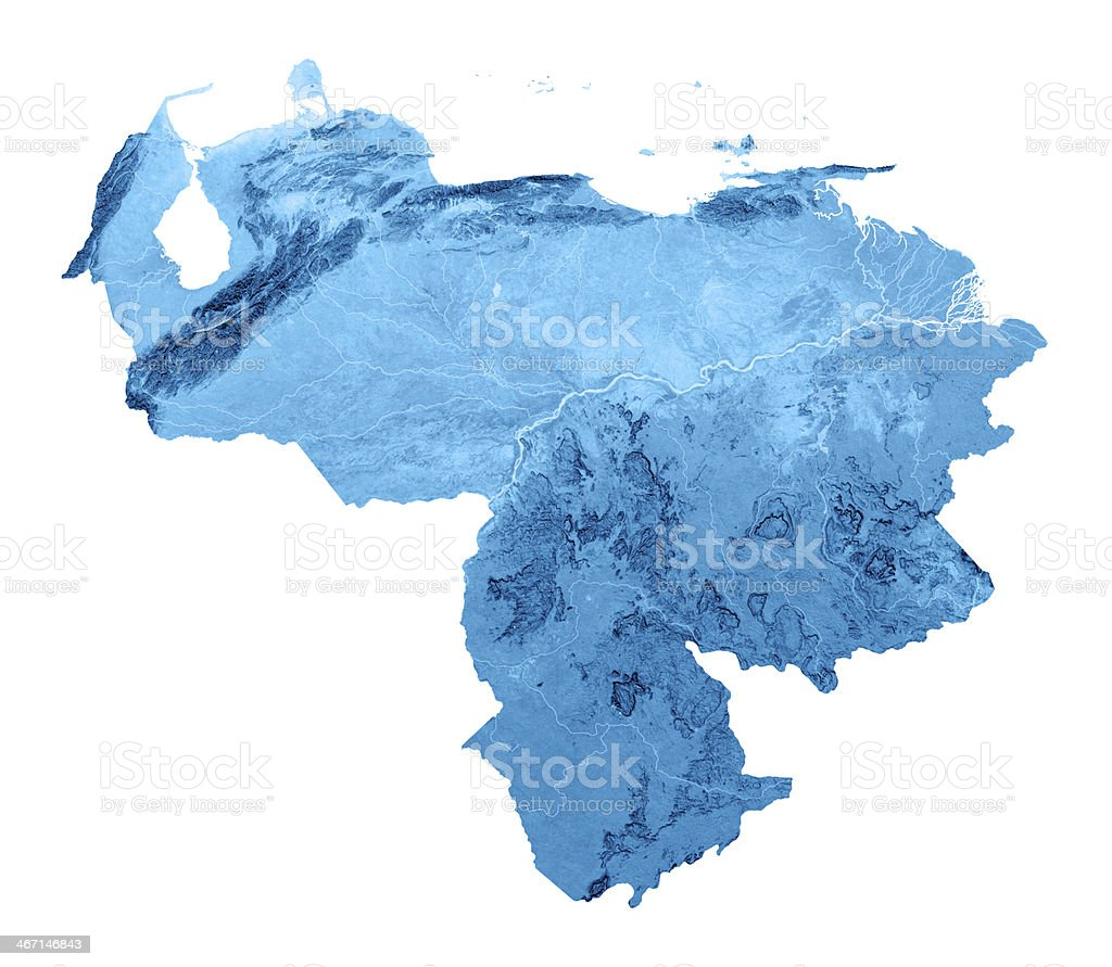 Venezuela Topographic Map Isolated royalty-free stock photo