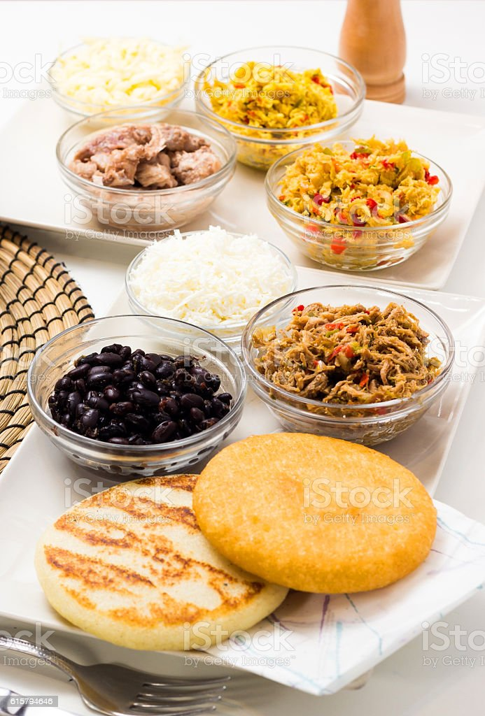 Venezuelan typical food, Arepas stock photo