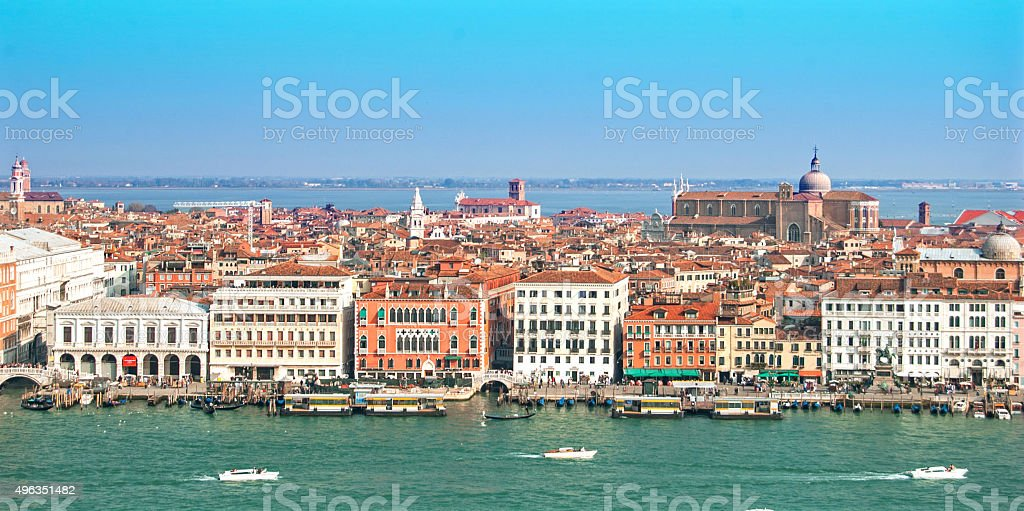 Venice - Aerial view from Guidecca showing Guidecca canal stock photo