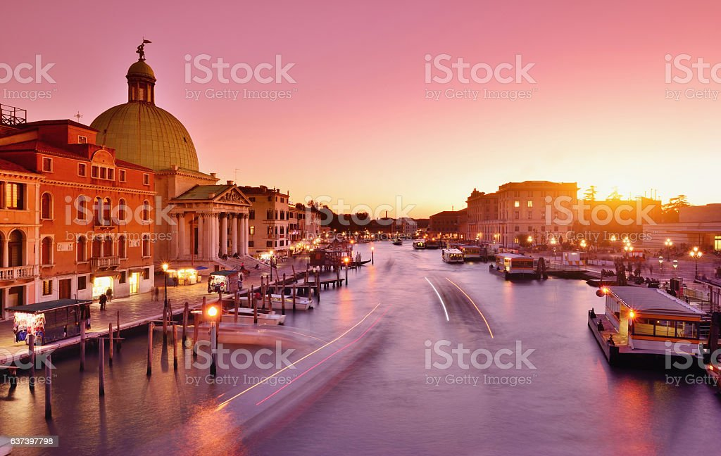 Venice and Grand Canal at Sunset, Italy stock photo