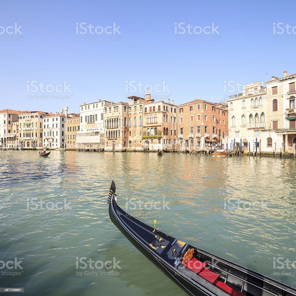 Venice - anterior part of gondolas on the Canal Grande royalty-free stock photo