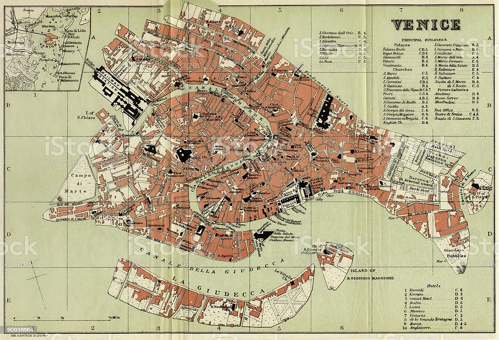Venice Antique Map 1896. royalty-free stock photo