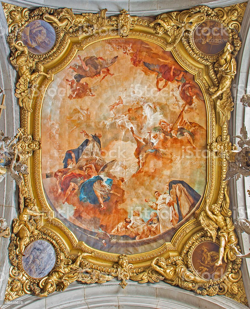 Venice - Apotheosis of st. Dominic fresco on ceiling stock photo