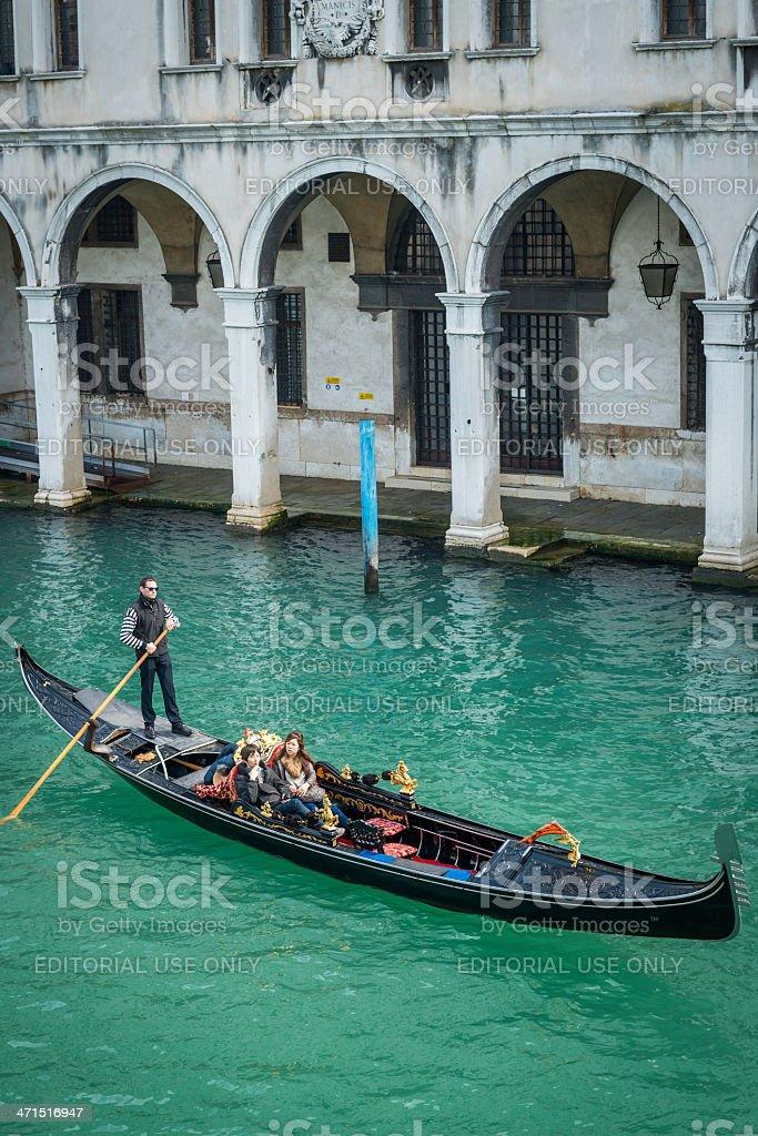 Venice Asian tourists on Grand Canal gondola ride Italy royalty-free stock photo