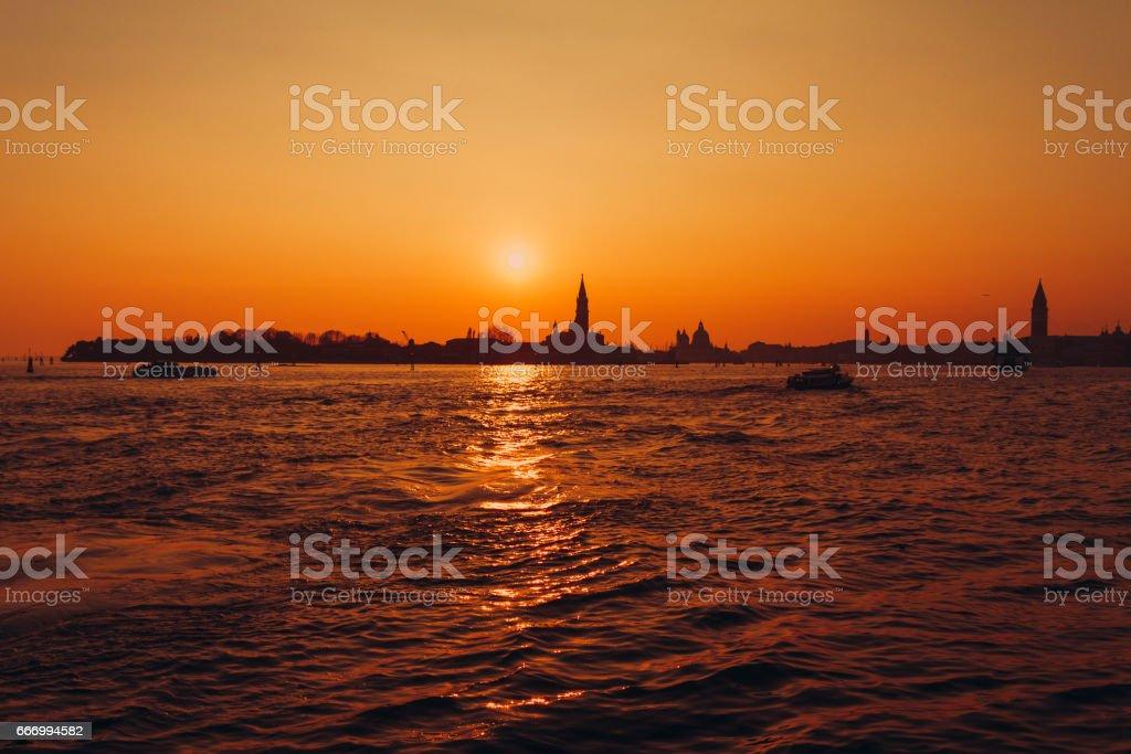 Venice at sunset, Italy stock photo