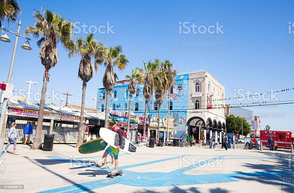 Venice Beach boardwalk, Los Angeles, California stock photo