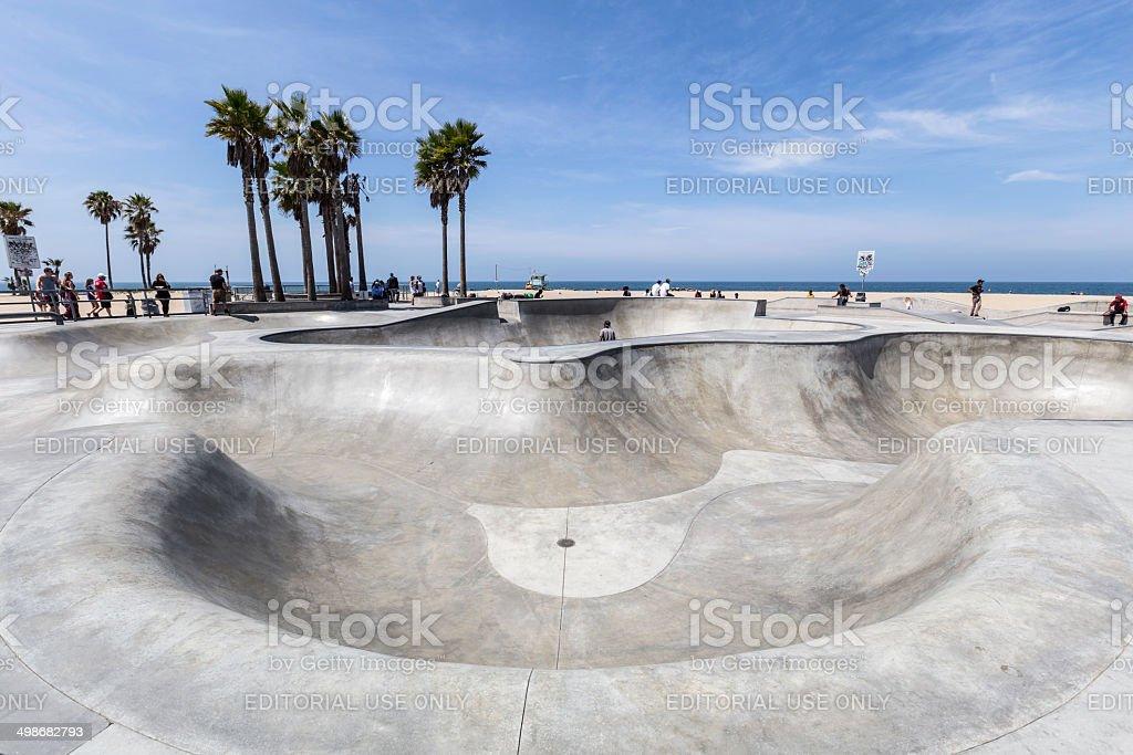 Venice Beach California Public Skate Board Park stock photo