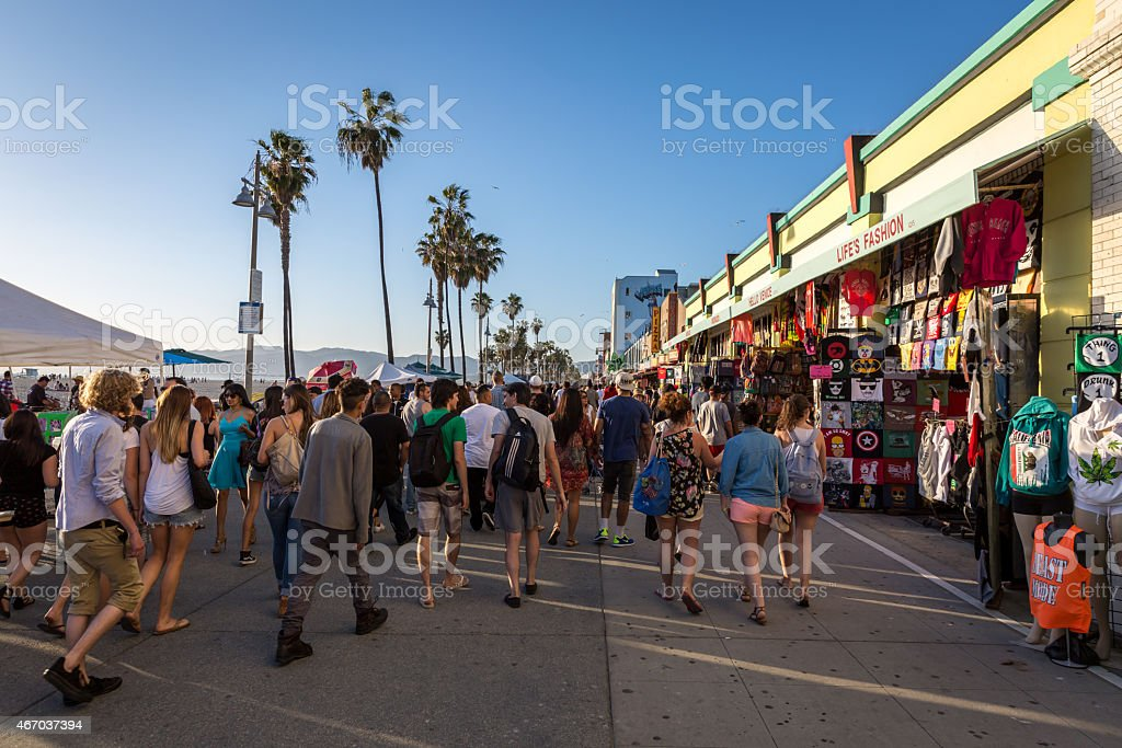 Venice Beach Crowded Boardwalk, Los Angeles, California stock photo
