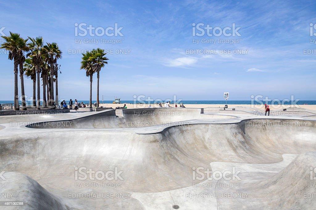 Venice Beach Skate Park in Los Angeles stock photo