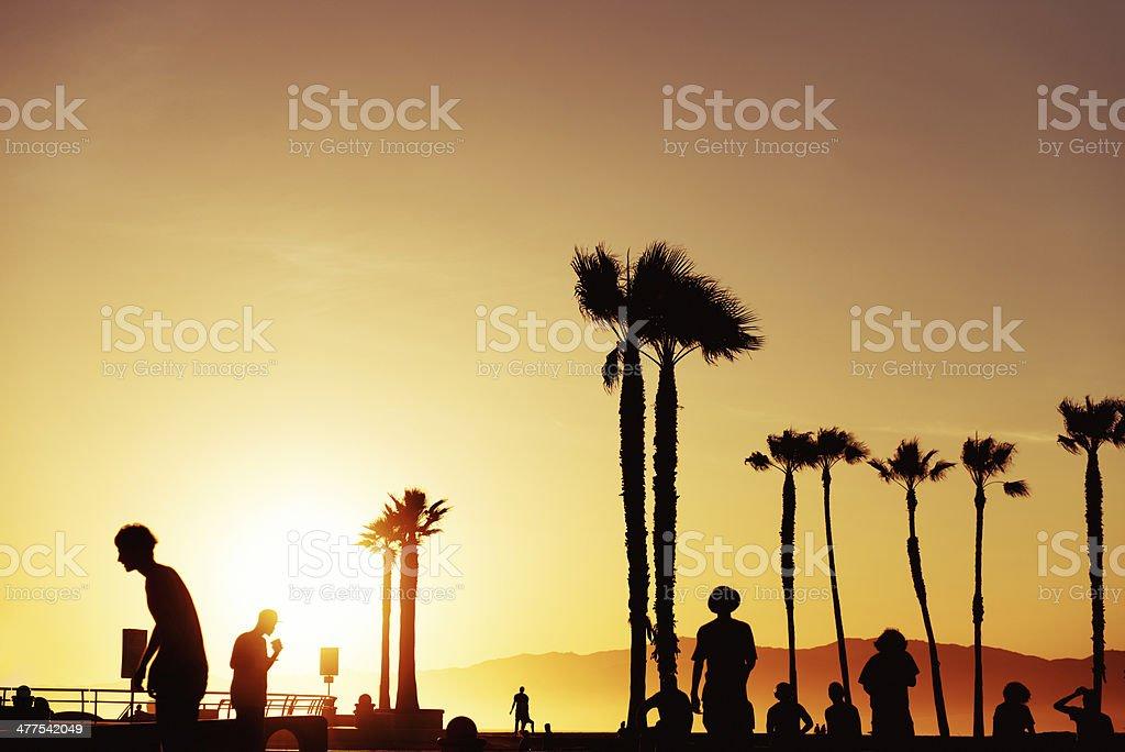 Venice beach sunset, California stock photo