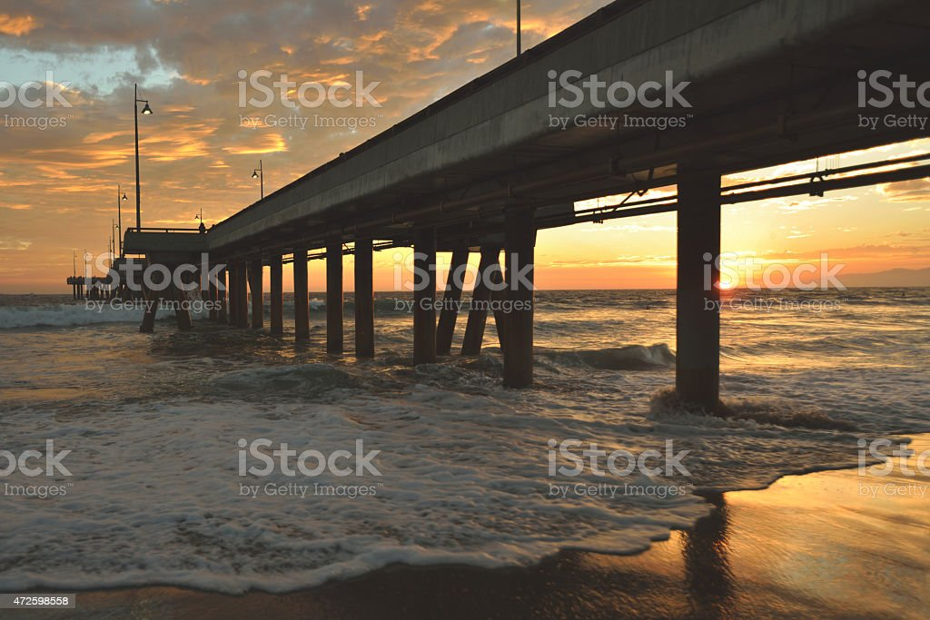 Venice beach sunset stock photo
