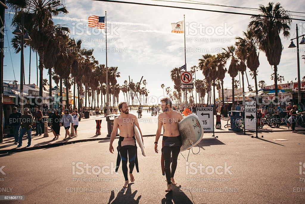 Venice Beach Surfers stock photo
