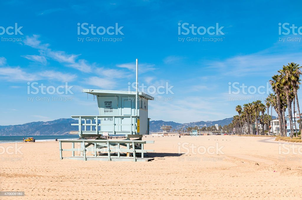 Venice Beach with Lifeguard Station Los Angeles California stock photo