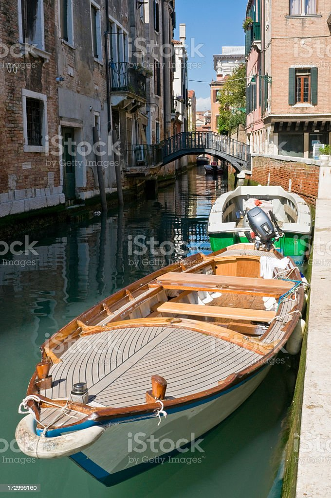Venice boats bridges and canals royalty-free stock photo