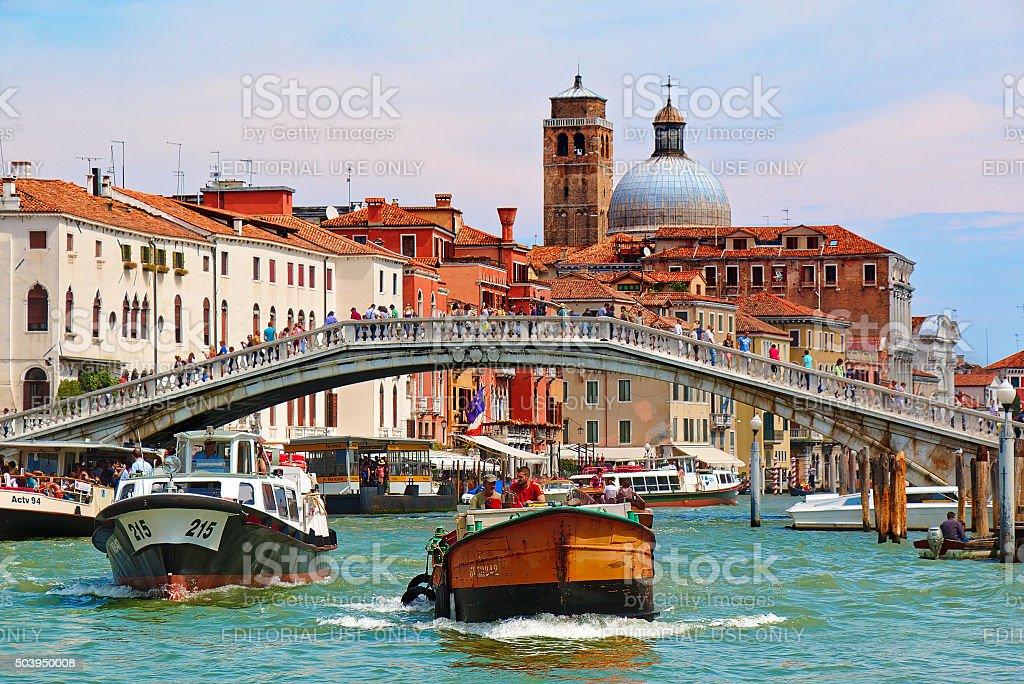 Venice. Boats in Grand Canal near the Ponte degli Scalzi stock photo