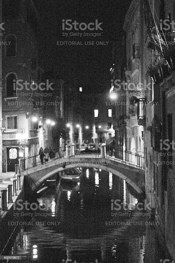 Venice Canal at night stock photo