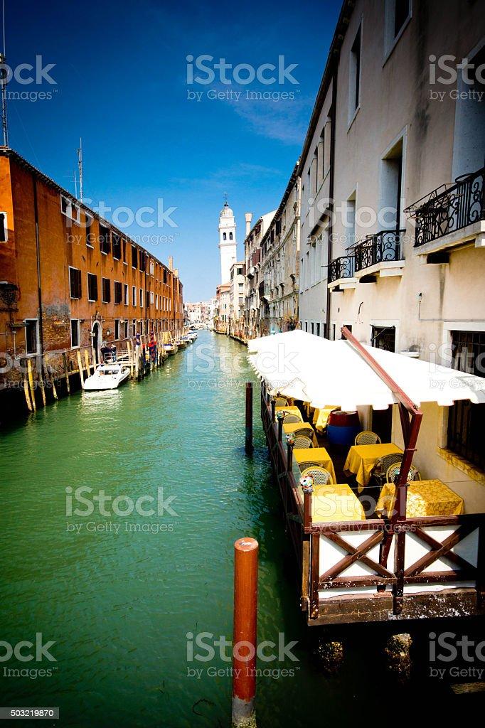 Venice Canal at sunrise stock photo