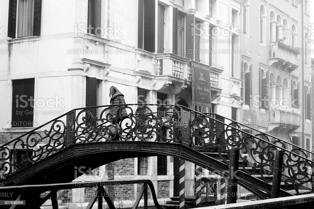 Venice Canal bridge in the mist stock photo