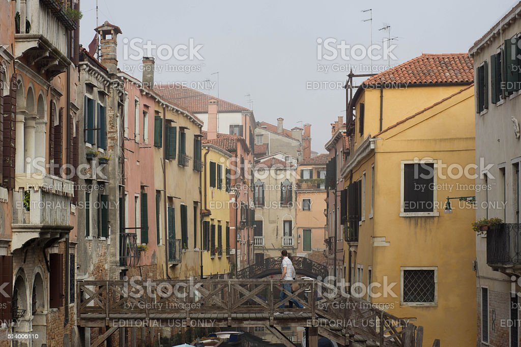 Venice Canal in early morning mist stock photo
