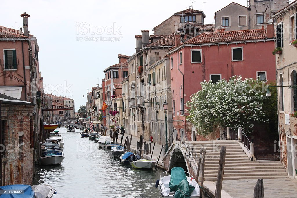 Venice canal street scene stock photo
