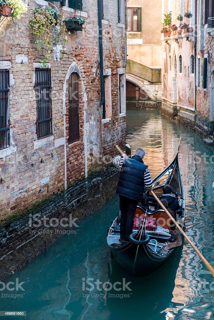 Venice canal with gondola, Italy royalty-free stock photo