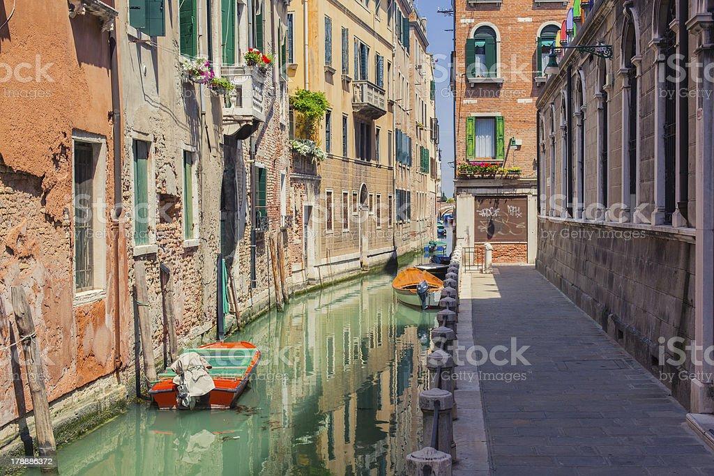 Venice canal with gondolas royalty-free stock photo