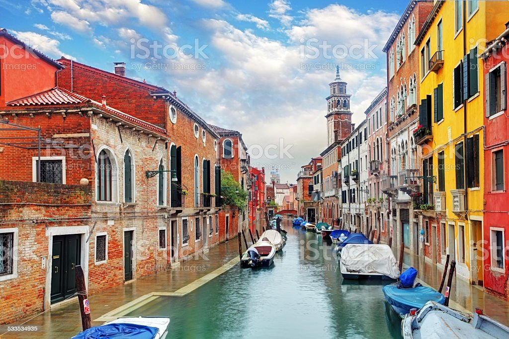 Venice canal with ship stock photo
