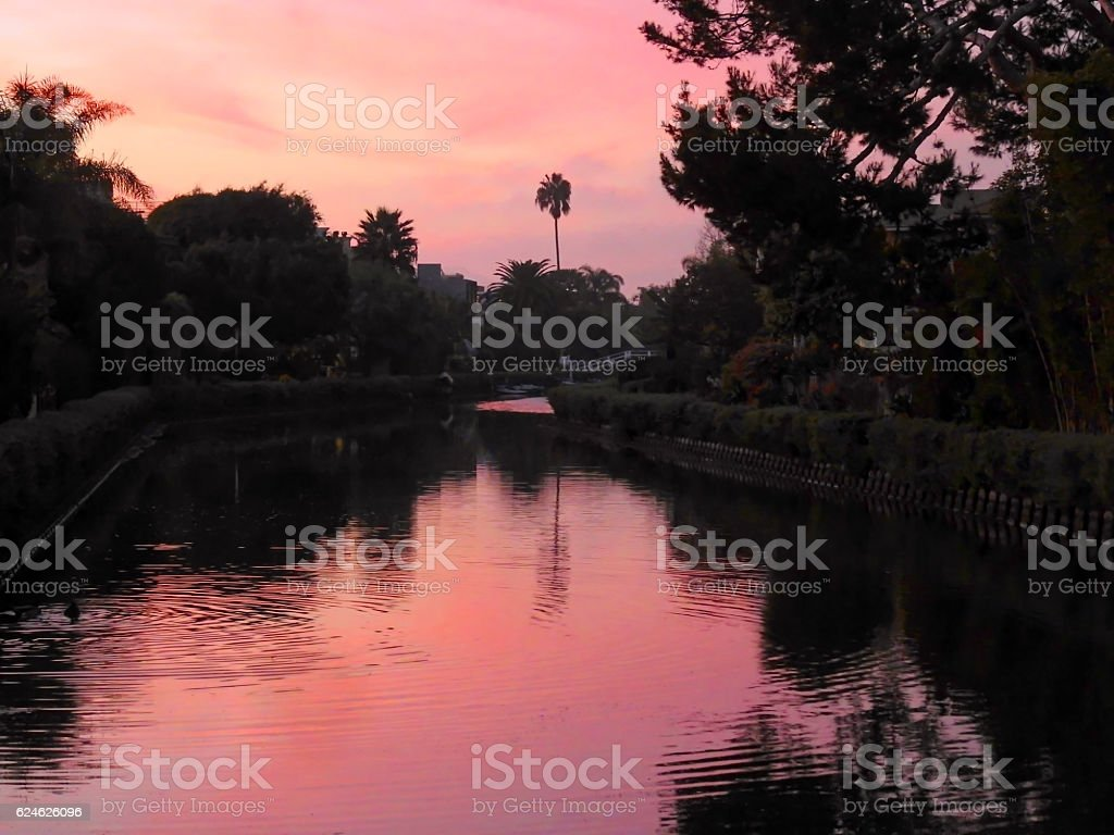 Venice Canals at Sunset stock photo