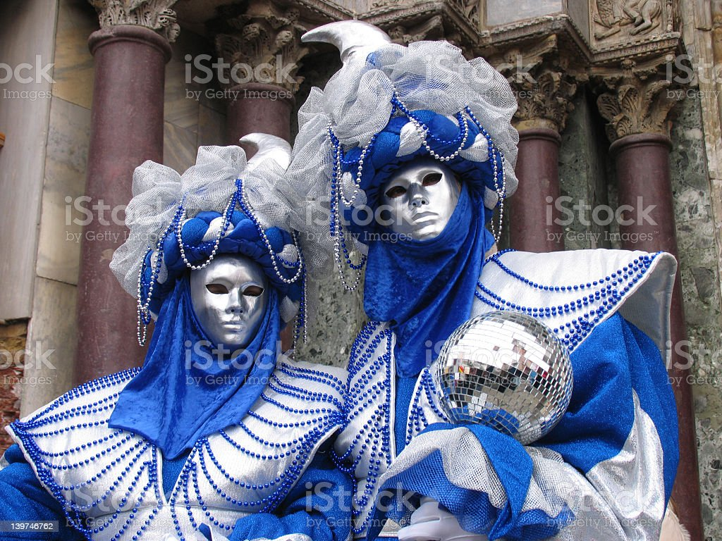 Venice Carnival: 2 masks in silver and blue stock photo