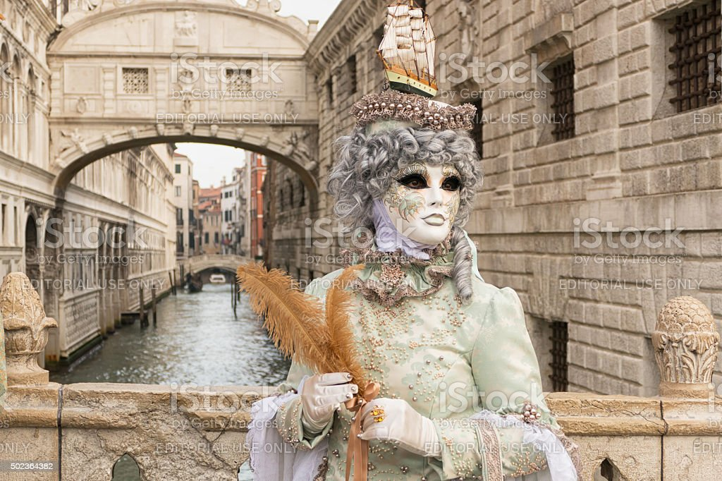 Venice Carnival at Brodge of Sighs stock photo