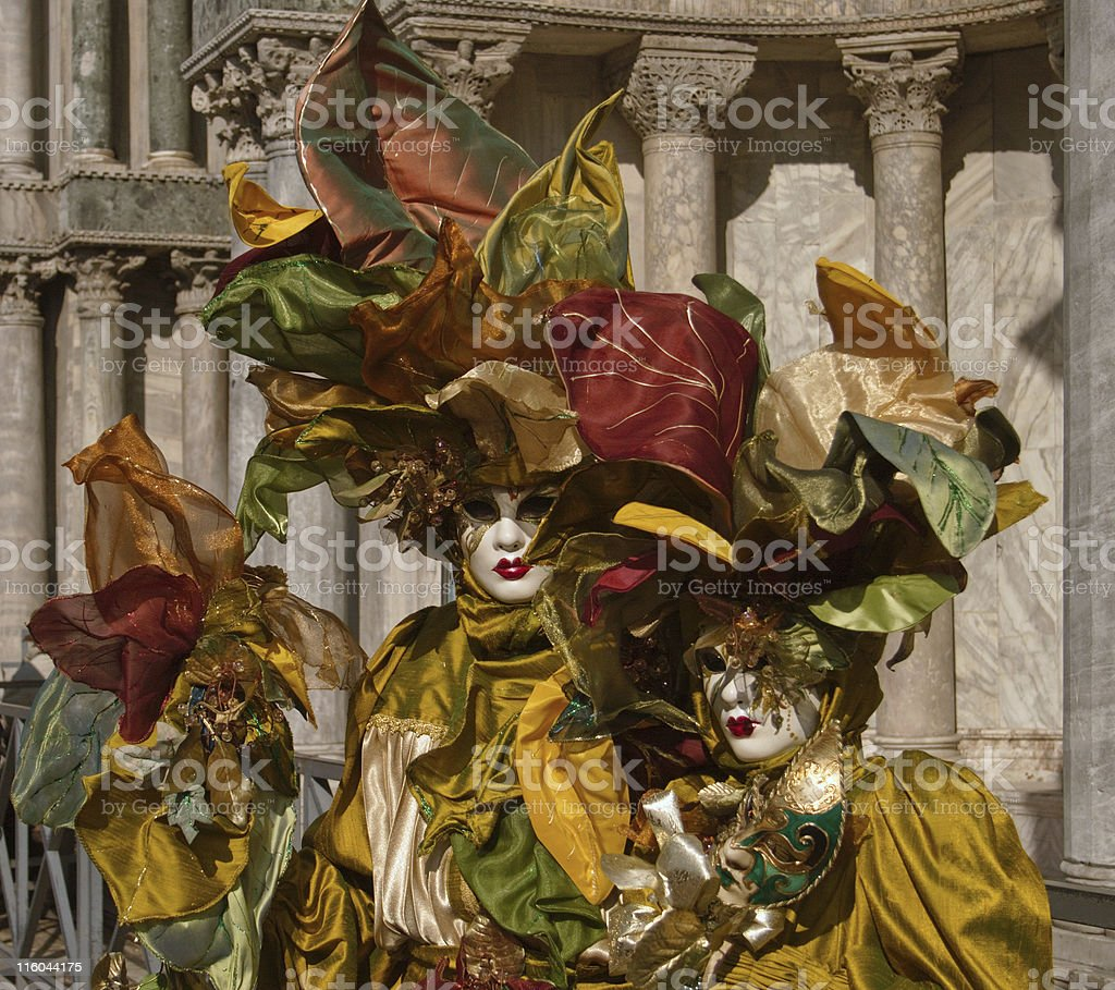 Venice carnival - autumn costumes royalty-free stock photo