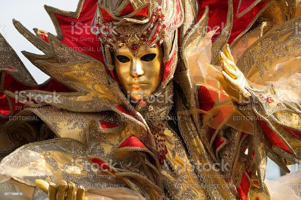 Venice Carnival costume-red and gold stock photo