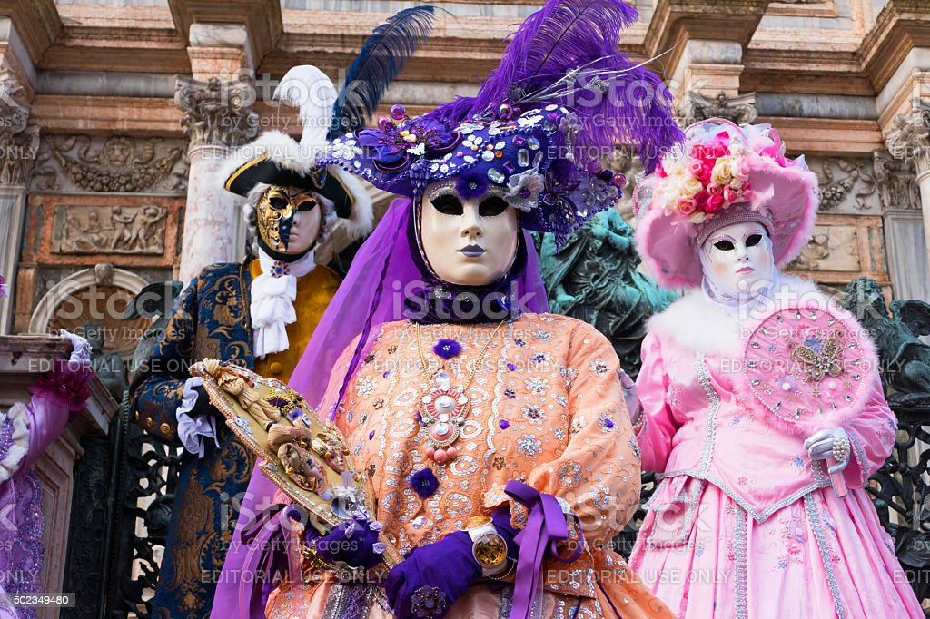 Venice Carnival in purple and pink stock photo